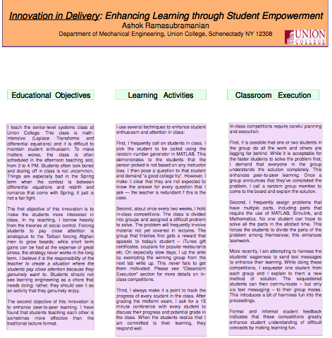 Innovation in Delivery: Enhancing Learning through Student Empowerment