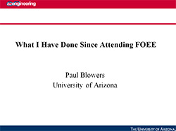 Paul Blowers - 2010 FOEE alumni on what innovations have been done since attending